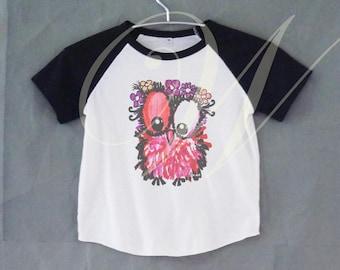 Babay owl tshirt short raglan shirt kids /off white tshirt toddlers 12M/2T/ 4T/ 6-10 years