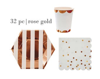 32pc Rose Gold Birthday Party Set | Rose Gold Scalloped Cups | Rose Gold Striped Plates | Rose Gold Foil Napkins | Rose Gold Tableware Set