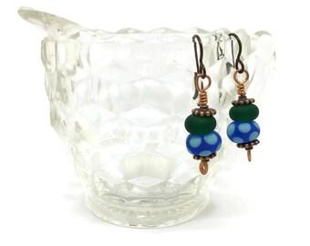 Blue and Green Lampwork Earrings