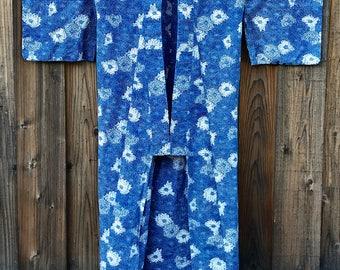 Vintage Japanese Traditional Indigo Cotton Summer Kimono