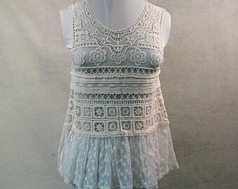 SZ M White Crochet Tank Top, White Crochet Tee, White Tank Top, White Tee, White Crochet Cover Up, White Cover Up, Beach Cover Up