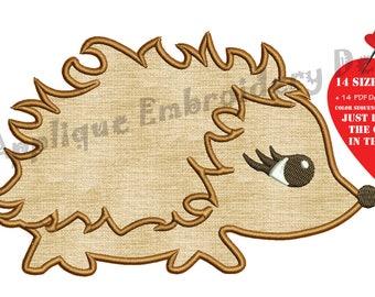 Hedgehog Embroidery Applique Design-Animals Applique -Kids Embroidery- Applique Patterns-Instant Download-PES