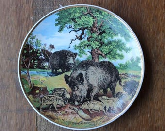 Vintage 1984 KAHLA Made in GDR Wild Boar Decorative Ceramic Wall Plate