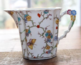 Vintage ROYAL STAFFORD Creamer Pitcher Butterflies Flowers Floral Handle