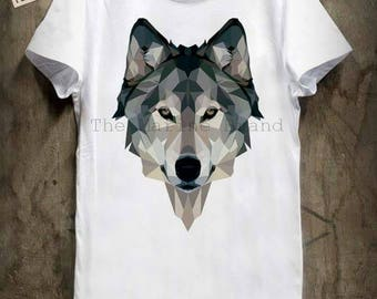 Wolf graphic T-SHIRT - illustration - arty - white - wolf men t-shirt sizes s-m-l-xl whithe