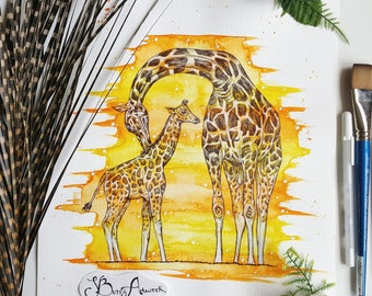 Giraffe, giraffe art, giraffe gift, giraffe painting, giraffe print, giraffe decor, jungle animals, giraffe nursery decor, safari decor