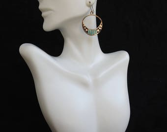 Vintage Southwestern Tribal Silver Niello & Turquoise Crescent Hoop Earrings