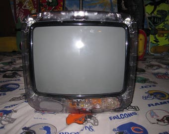 """vintage ktv SEE THROUGH CLEAR cabinet 13"""" tv from the 1980s television set totally rad 90s"""