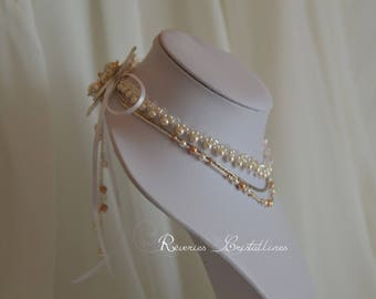 Bridal white pearls and rose gold, crystals Swarovski - wedding jewelry, rose gold necklace, pearly backdrop
