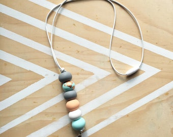 Polymer clay bead beaded lanyard, long keychain keyring. Mint, grey, peach, copper. 'The piper'