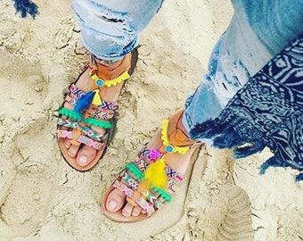 Pom Pom Sandals, Boho Sandals, Greek Leather Sandals, Women gift, Boho Gladiator sandals, Summer sandals, Bohemian sandals,Decorated Sandals