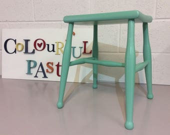 Cute Little Vintage Stool Hand Painted With Farrow & Ball Estate Eggshell