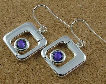 Swarovski Heliotrope square drop earrings