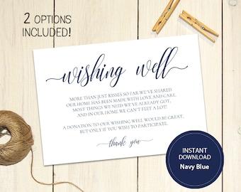Editable PDF 3,5x5 Navy Blue Wishing Well Card Lieu of gifts Wedding Wishing Well Wedding Insert Calligraphy Printable Digital #DP120_17