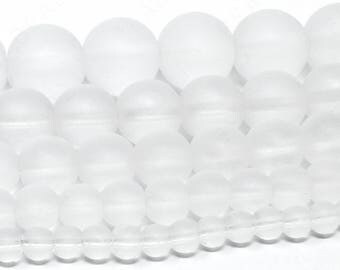 """Matte Clear Beads Frosted Gemstone Round Loose - 4mm 6mm 8mm 10mm 12mm - 15.5"""" Strand"""