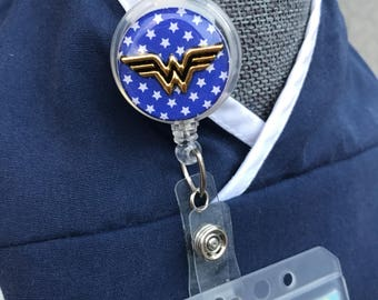 Wonder Woman Badge Reel Cover/Velcro Backed/Interchangeable/Wonder Woman ID Badge Holder Cover