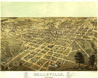 Belleville, IL Panoramic Map dated 1867. This print is a wonderful wall decoration for Den, Office, Man Cave or any wall.