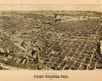 Fort Worth TX Panoramic Map dated 1891. This print is a wonderful wall decoration for Den, Office, Man Cave or any wall.