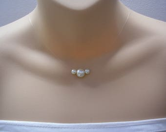 Zara ~ Three Floating Coloured Pearls Necklace, Pearl Illusion necklace, bridesmaid bridal wedding necklace, simple pearl necklace, (41t)