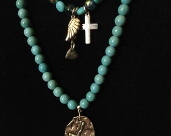 Turquoise beaded double strand necklace w/pendant & charms