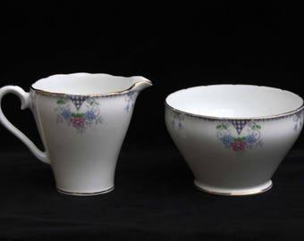 J H Cope & Co | Wellington China | Art Deco | Bone China | Floral Milk Jug and Sugar Bowl
