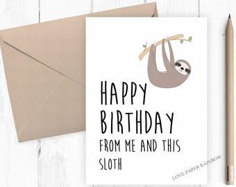 sloth birthday card, funny sloth birthday card, funny birthday card, kids birthday card, animal birthday card, cute birthday card