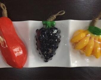 Real Fruit Fragrance Soaps! Real flavour- Papaya, Black grapes, Banana, Bundle of 3!