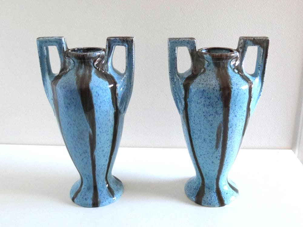 Pair Of Art Deco Vases French Antique 1920s Turquoise Blue Ceramic