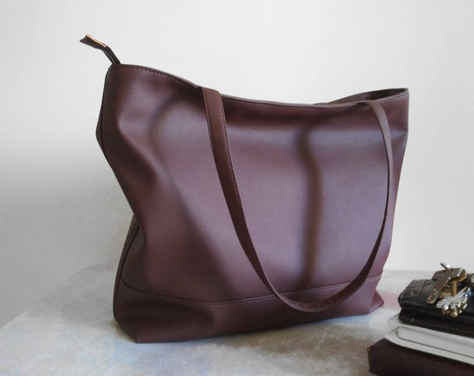 Brown Tote bag, Large women vegan Tote, Laptop bag, Organizer bag, Office handbag
