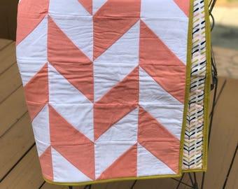Coral Herringbone Quilt, baby girl quilt, modern baby quilt