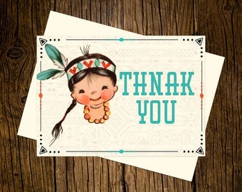 Boho Thank You Note Cards Custom Printed Handmade Stationery Set of 12 Turquoise Vintage Ecru Western Rustic Tribal