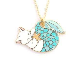 Blue Purrmaid Necklace (mermaid cat mermaid necklace enamel jewelry cute cat jewelry white cat necklace cloisonne gift for cat lover)