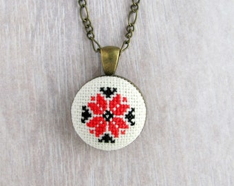 Red necklace Embroidered necklace, Ethnic jewelry, Folk style necklace Gifts under 30, Bohemian Gift for her Gift for wife, Hand embroidered
