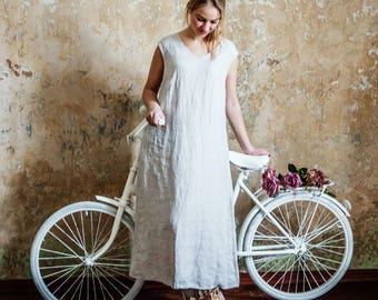 Long linen dress / summer linen dress / summer dress / every day dress / linen dress / sleeveless washed linen dress / summer linen dress