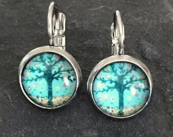 Tree lever back style stainless steel dangle earrings
