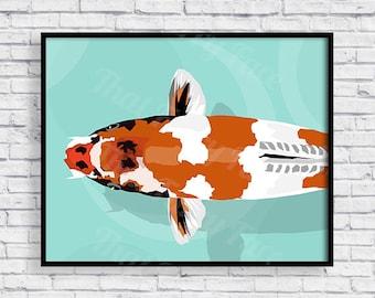 PRINTABLE KOI POSTER | Gift | Print it yourself | Koi Fish |