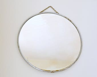 Barber round mirror, metal, with chain edge, barber miror