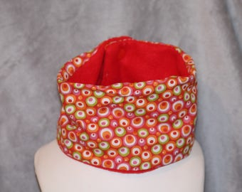 snood scarf red bubble snap, Green Pink