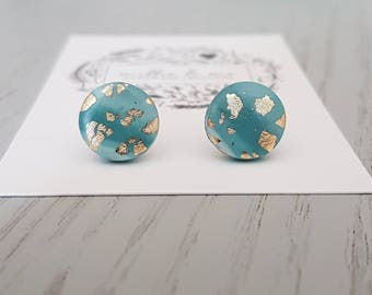 Polymer clay earrings/ blue and gold/ clay stud earrings/ polymer clay jewellery/ blue  studs/ polymer clay/ earrings/ blue, gold earrings