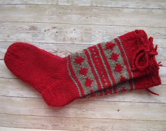 Red Wool Socks For Men, Size 43/ 44  US 10, Hand Knit Socks, Long Woolen knitted socks, Ready to ship