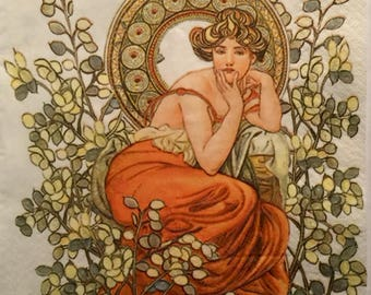 """3 Decoupage Napkins, Vintage Art Nouveau Alphonse Mucha Woman  13"""" x 13"""" unfolded"""