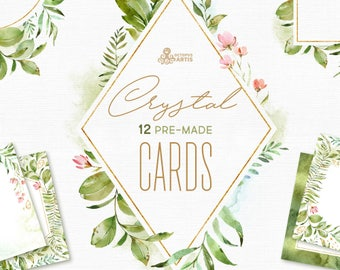 Crystal. 12 Cards and Templates. Watercolor floral, polygonal pre-made clipart, frame, leaf, gold, green, geometry, wedding, bridal, minimal