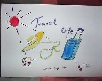 Travel life , meet cute ; 34.4cm X 24.5 cm