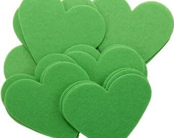 Green Stiff Felt 3 Inch Hearts (22pc)