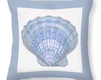 Sea Shell Decorative Pillow, Blue and White Pillow, Sea Shell Pillow Cover,Beach Decor,Nautical Decor, Coastal Home Decor, Decorative Pillow