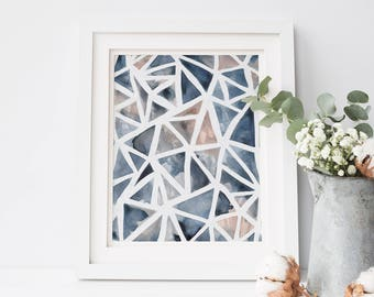 Modern Minimalist Artwork, Trendy Home Decor, Geometric Art, Triangle Print, Gallery Wall Art, Blue Triangles, Blue Print, Living Room Decor