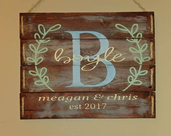 Custom Rustic Est Name Sign Complete With Twine Rope
