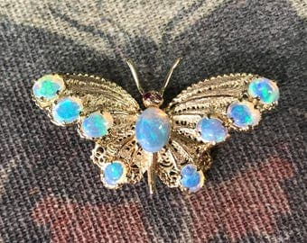 Vintage 14k Opal And Ruby Butterfly Brooch