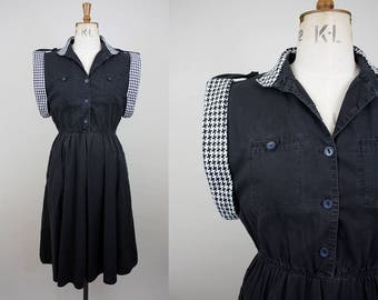 1980s does 1950s Cotton Day Dress / Houndstooth Collar / Elasticated Waist / Dogstooth / Size Large / M L
