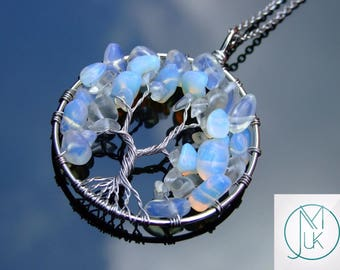Handmade Opalite Tree Of Life Manmade Gemstone Pendant Necklace 50cm Chakra Healing Stone With Pouch FREE UK SHIPPING